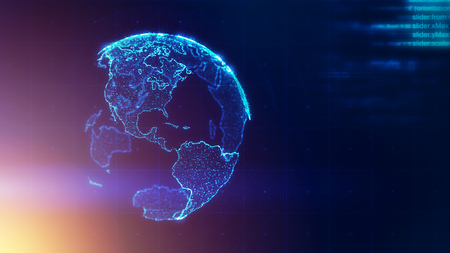 Global business strategy concept, abstract Earth world map on dark blue background, illustration Stock Photo
