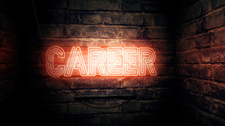 Career neon sign, conceptual 3d rendering illustration