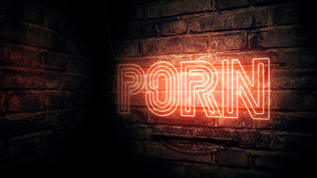 Porn neon sign, conceptual 3d rendering illustration Stock Photo