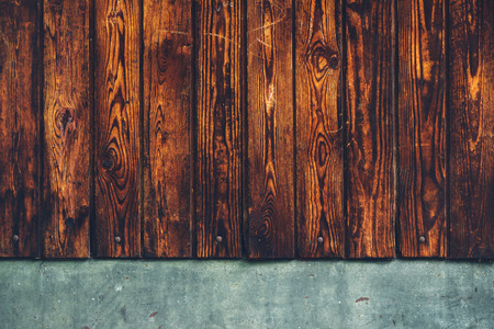 Rustic brown wooden background, weather worn wood planks  Stock Photo