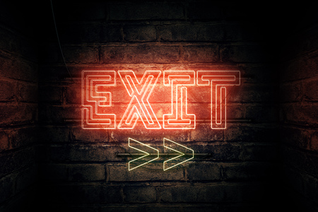 Exit Neon sign mounted on brick wall, conceptual 3d rendering illustration Foto de archivo - 101585500
