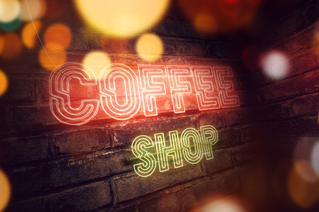 Coffee Shop Neon Sign, abstract 3d rendering illustration Stock Photo
