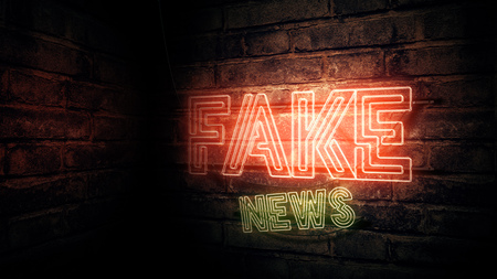 Fake news neon sign, conceptual 3d rendering illustration