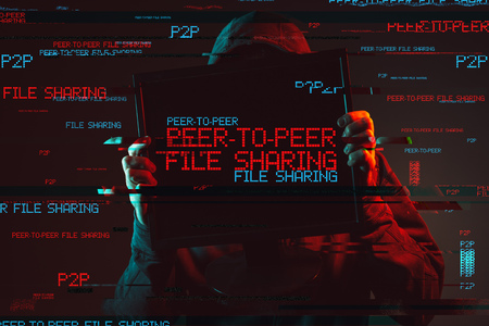 Peer to peer file sharing concept with faceless hooded male person, low key red and blue lit image and digital glitch effect