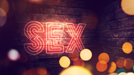 Sex neon sign mounted on brick wall, conceptual 3d rendering illustration for red light district or sex shop Stock Photo