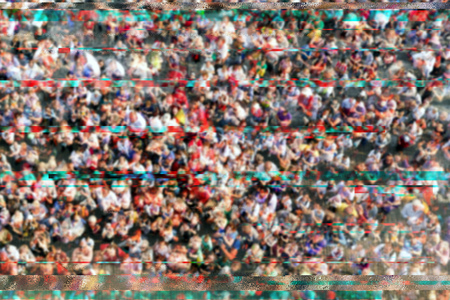 General data protection regulation GDPR concept. Blurry crowd of people on the street with glitch effect as if they were recorded with surveillance cctv camera