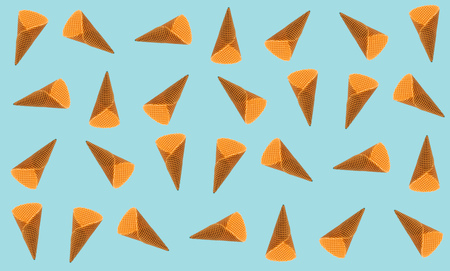 Ice cream cones as seamless pattern background, minimal flat lay composition