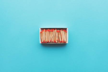 Matchsticks in a box, top view flat lay minimal composition Stock Photo