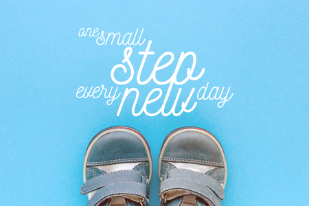 One small step every new day motivational message in conceptual image for raising and bringing up children Stock Photo