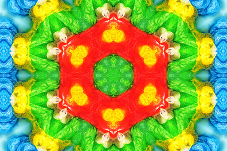 Plastic garbage and trash pollution, conceptual colorful abstract kaleidoscope background