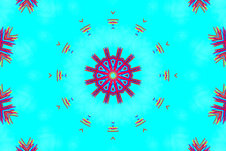 Abstract kaleidoscope pattern background, colorful reflective mirroring backdrop as graphic design element