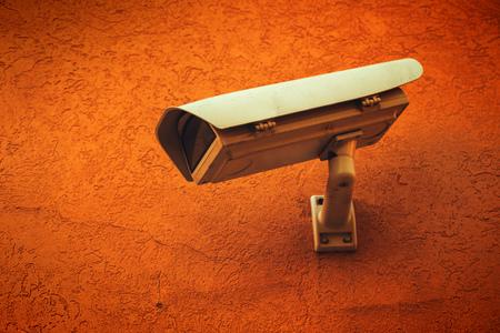 Surveillance CCTV camera in metal housing cover protective case