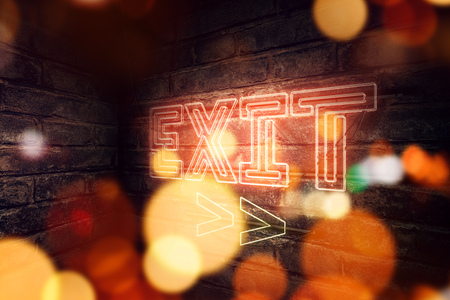 Exit Neon sign mounted on brick wall, conceptual 3d rendering illustration