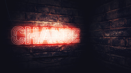 Change neon sign on brick wall, 3d rendering illustration