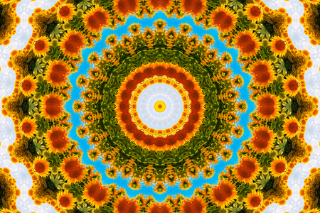 Psychedelic kaleidoscopic illusive symmetrical pattern as background