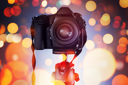 DSLR camera on tripod, photography and videography concept