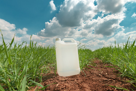 Blank pesticide jug container mock up in wheatgrass field. Using chemical in crop protection agricultural activity.
