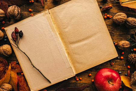 Blank diary page copy space with autumn decoration. Empty old mock up paper surface on the table, top view flat lay.