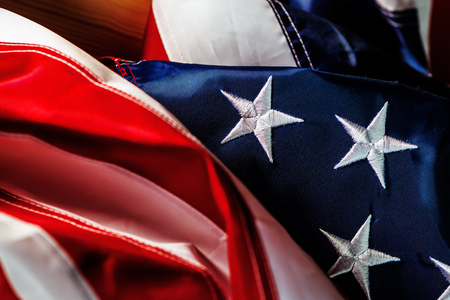 4th of july Independence day and crumpled american flag concept, USA banner with stars and stripes for as the symbol of patriotism and national pride for citizens of United States of America.