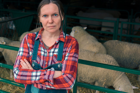 Female farmer on sheep farm. Portrait of woman in red plaid shirt and jeans bib overalls looking at camera.