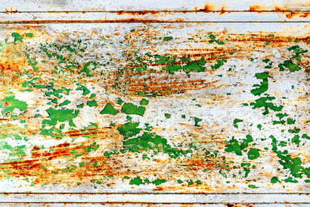 Grunge scratched distressed metal surface background, weathered metallic plate with paint peeling off