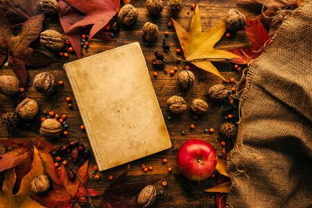 Flat lay top view vintage book with autumn decoration on the table, nostalgic retro toned image Stock Photo