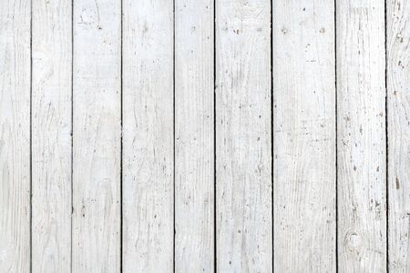 White wood planks background, detailed texture of worn wooden surface