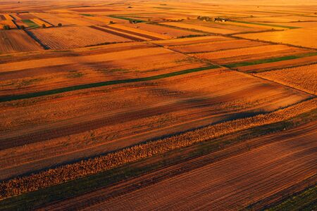 Colorful countryside patchwork background, cultivated agricultural field as abstract pattern in autumn sunset, aerial view from drone pov