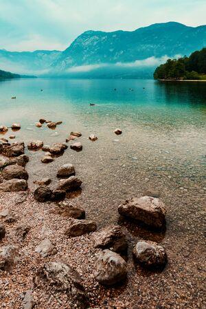 Lake Bohinj - beautiful travel destination in Slovenia, pat of Triglav national park Reklamní fotografie