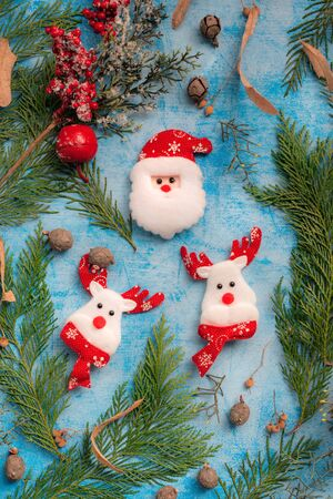 Santa Claus and raindeer christmas decoration, top view flat lay