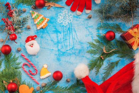 Christmas holiday decoration with copy space, flat lay top view