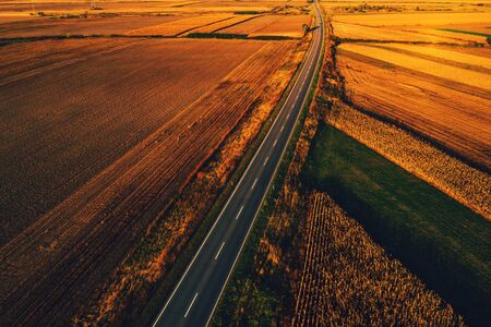 Empty road through countryside in autumn sunset, aerial view from drone pov