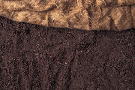Botany humus compost soil mix top view with hessian burlap sack, abstract natural texture Zdjęcie Seryjne