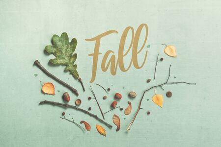 Autumn season flat lay decoration top view with leaves and branches, abstract minimal composition Zdjęcie Seryjne