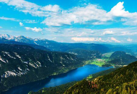 Aerial view of Lake Bohinj in Slovenia in summer seen from mount Vogel 版權商用圖片