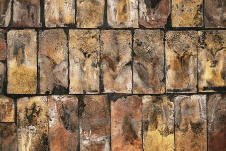 Brick flooring as background, top view of surface texture Banco de Imagens