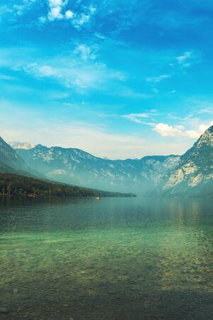 Lake Bohinj in summer morning, beautiful landscape of Slovenia travel destination Imagens