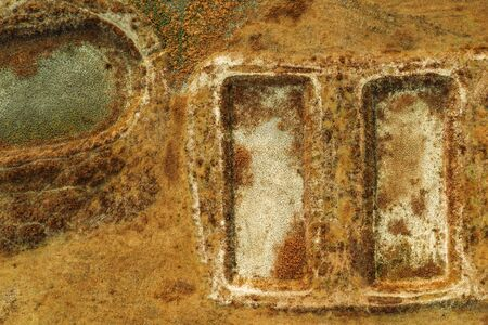 Dried fish farm ponds aerial view from drone pov as abstract background