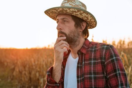 Thoughtful concerned corn farmer agronomist posing in maize crop field, worried about the yield from harvest