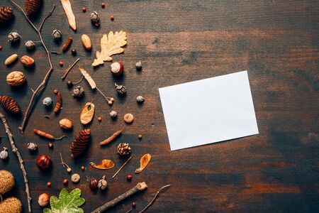 Blank mail envelope mock up top view flat lay with autumn season decoration Banque d'images