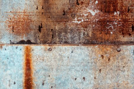 Corroded metal surface texture as background, unique rusty pattern of metallic plate
