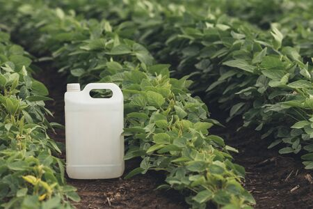 Soybean crop protection concept with blank generic pesticide canister jug mock up in perfectly clean field without weeds