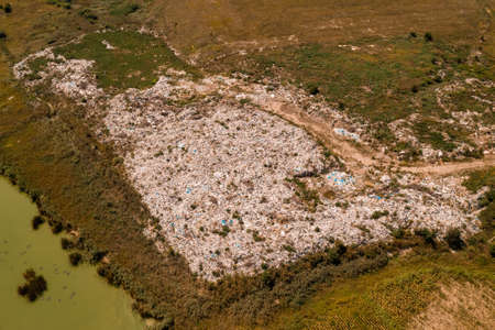 Aerial view of garbage dump landfill from drone pov, disposal of waste material Banque d'images