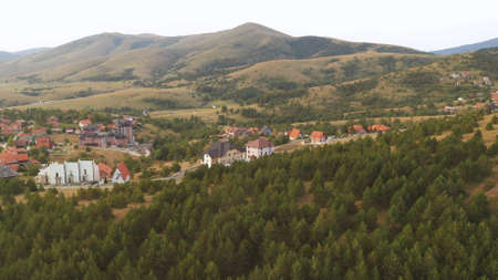Aerial view of Gajevi settlement in Serbian famous touristic destination - Zlatibor region in early morning