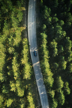 Top view of single gray car driving through forest in Zlatibor, Serbia. Aerial view from drone pov. Banque d'images
