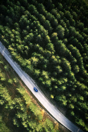 Top view of single blue car driving through forest in Zlatibor, Serbia. Aerial view from drone pov. Banque d'images