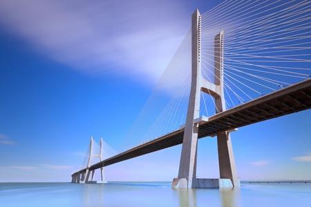longest: Vasco da Gama bridge, Lisbon, Portugal. Stock Photo