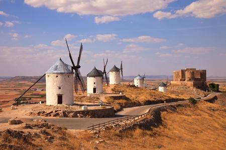 don quixote: Windmills and castle of Consuegra. Spain