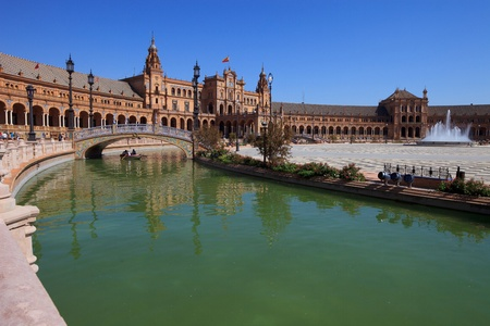 seville: Seville, plaza de espana  spain square  located in the Parque de Maria Luisa  Built in 1928