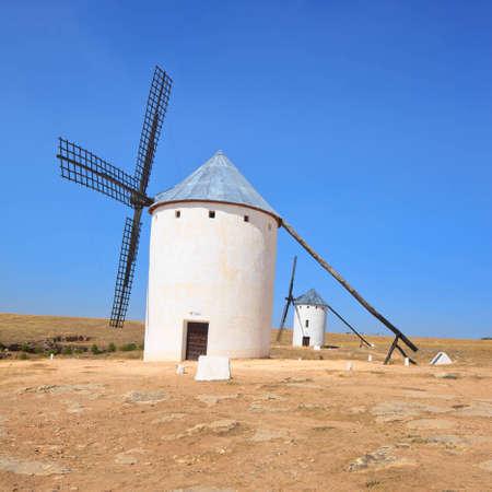 don quixote: Two Cervantes s Don Quixote windmills near Alcazar de San Juan, Castile - La Mancha region, Spain,